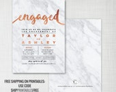 Marble engagement party invitation copper foil effect • digital/printable / printed • printables ship free: use code SHIPPRINTABLESFREE
