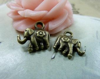30pcs 12*12mm antique bronze elephant  animal charms pendant   C1660