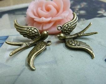 20pcs 22x33mm antique bronze swallow bird charms pendant C1833