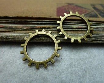 50pcs 20mm antique bronze gear charms pendant C7789