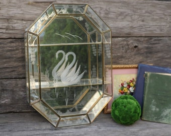 Glass and Brass Curio Cabinet - Vintage Case - Glass Shelves - Mirror - Etched Glass Swan - Vintage Decor - Knick Knack Case - Diaplay Case
