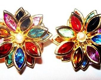 """Mardi Gras Clip On Earrings Flower Cluster Colored Rhinestones 3 Tiers Gold Metal 1"""" Vintage"""
