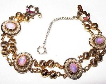 """Opal Pearl Link Bracelet Pink Rhinestones 2 Rows Gold Metal High End 7.5"""" Vintage"""