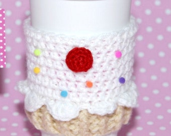 Cupcake Coffee Cozy - Drinkware- Coffee Cozy-Coffee Sleeve-Kitchen Decor-Cupcake-Christmas Gift-White Elephant Gift-Birthday Gift