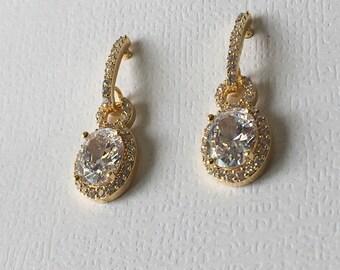Gold Diamond Wedding Earrings