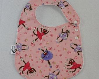 Pink Sock Monkey Adjustable Side Snap Bib with Minky Back