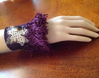 Fabric Wrist Cuff/Vintage Upcycled Wrist Cuff, Maroon Fringed Cuff