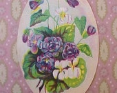 Lovely Little Victorian Era Scrap with Purple Violets