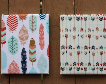 TWO Feathers and Arrow Wall Hangings - 8 x 10 canvas