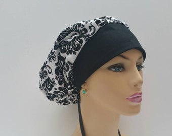 Bouffant Cap / Ponytail surgical Cap - Large Black Damascus Flowers - Black/White