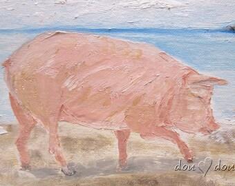 Beach Pig  - Art print of Original Oil Painting - 8x10 Pig Art