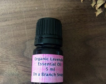 Organic Lavender Essential Oil. 5 ml. Dropper. Aromatherapy. On a Branch Soaps