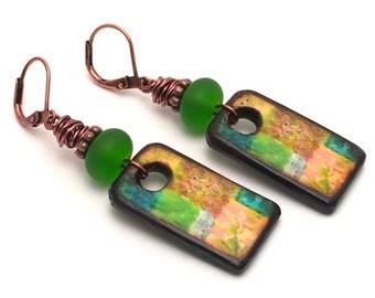 Tropical Delight Earrings - Art Tile Copper Earrings - Green Earrings - Lampwork Glass Jewelry - Artisan Handmade Earrings - SRAJD