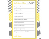 Yellow Wishes for Baby Instant Download Neutral Game Cards Printable Activity Polka Dots and Grey Chevron New Baby Advice Mom Keepsake