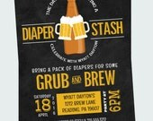 Diaper Stash Baby Shower Invitations Huggies for Chuggies Dadchelor Party Fun Beer Invites Mod Chalkboard Typography Printable or Printed