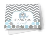 Elephant Baby Shower Thank You -- Grey & Blue -- Baby Boys  -- Folded Note Card -- Fill-In -- Printed -- Stationery Set with Envelopes