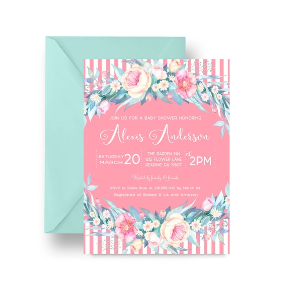 boho floral baby shower invitations delicate girls sprinkle party, Baby shower invitations