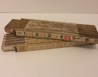 Vintage 1960s folding ruler for carpentry - Pair of two folding rulers with brass hardware - buy one or buy them both