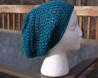 The Sparrow Slouchy Beanie in Teal - Ready to Ship