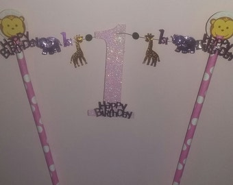 1st  Safari Zoo First Happy Birthday Party Cake Topper