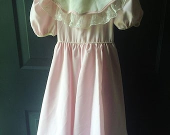Vintage pink lace party formal dress 6x Valentine's Day