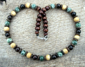 Mens surfer necklace, tree agate, bone, wood and coconut shell beads, tribal style, handmade from natural materials, one of a kind
