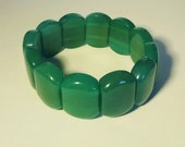 AVENTURINE GEMSTONE BRACELET - Stretch Bracelet (No Clasp Needed) of Large Gemstone Segments