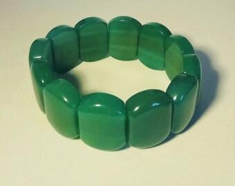 AVENTURINE GEMSTONE BRACELET - Stretch Bracelet (No Clasp Needed) of Large Gemstone Segments