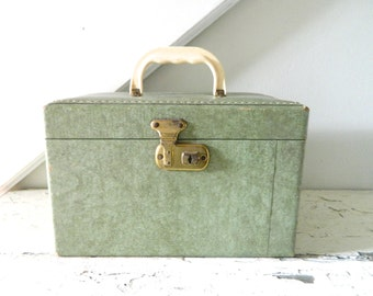 Vintage Train Case Green Midcentury