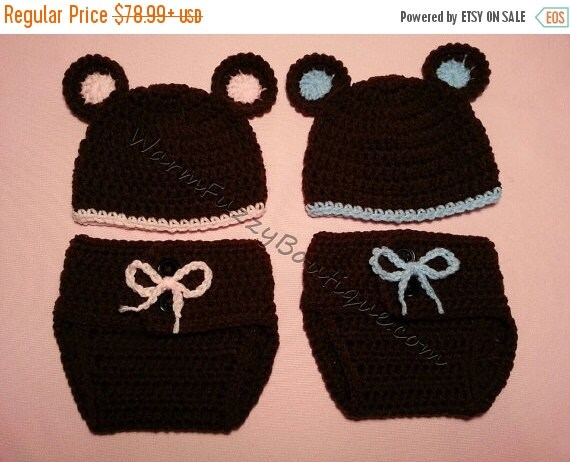 SALE Baby Twin Bear Hat & Diaper Cover 2 Sets - Crochet Baby Newborn Costume Photo Prop Girl Boy Halloween  Winter Outfit 0-12 month