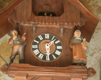 Spring Sale - 18 Inch, German Black Forest Cuckoo Clock, Working Condition, 8 Day Clock, Schneider, Musical, Wood Carving