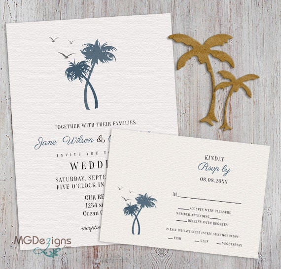Printable palm trees wedding invitation beach wedding for Free printable tree wedding invitations