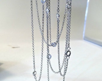 Vintage Crystal Silver Long Necklace, Art Deco Style Necklace