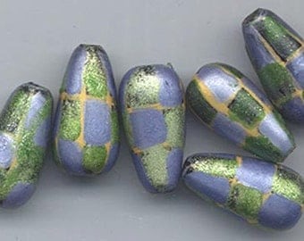 Nine very unusual, very pretty hand-painted beads - matte metallic green, lavender, and gold - 18 x 9.3 mm pears
