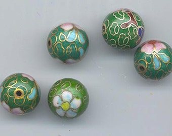 Five vintage Japanese cloisonne beads - floral pattern on an olive green background - 12 mm rounds