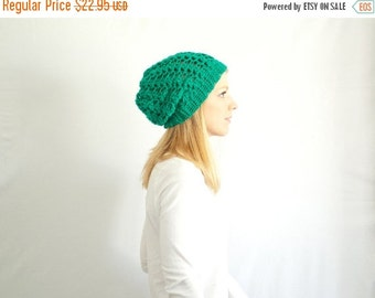 SUMMER SALE Slouchy hat beanie crocheted - emerald - wool