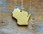 1 - Wisconsin State Charm in Brushed 24k Gold Plated Stainless Steel Gold Silhouette Personalized Layered Charm Minimal Jewelry Pendant