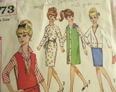 Original Vintage 1964- Simplicity 5673-- sewing pattern wardrobe for Barbies