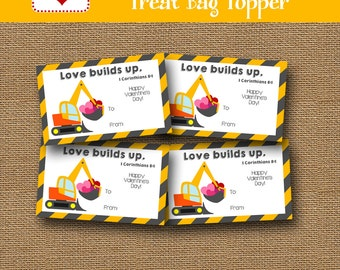 Bulldozer Treat Bag | Construction Valentine | Valentine Goody Bag Topper | DIY PRINTABLE | Kids Bible Treat Topper Label | Instant Download