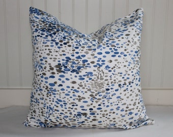 Blue, Grey and Ivory  Scatter Dot Pillow Covers in Duralee Taku Blue