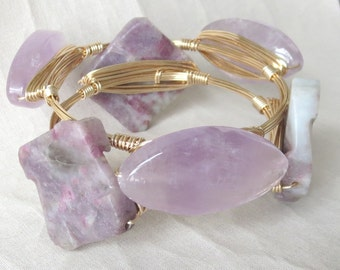 "Set of 2 Lavender and Gray Stone Bangle Bracelets  ""Bourbon and Bowties"" Inspired"