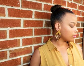 Panthera Wooden & Fabric Earrings