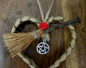 Handmade Valentine Heart With Oak Besom & Pentacle Charm. Pagan / Wiccan Gift
