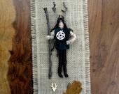 Handmade Positively Pagan God Cernunnos Horned God figure on Wall Hanging.