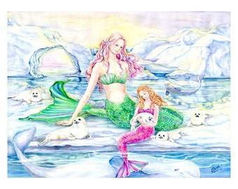 Mermaid Art Print, Arctic Mermaid, Mother and Daughter mermaid,Beluga whale,Baby Harp seals,glaciers, icebergs 11 x 14 in.art print
