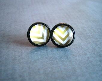 Gold Chevron Studs : Small Black Earrings