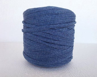 brillant blue T-Shirt yarn, zpagetti yarn , cotton   TShirt Tricot , Recycled tshirt yarn , Necklaces Bracelets, for pouf , home decor