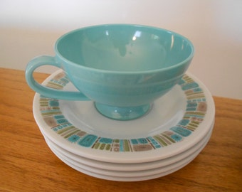 Texas Ware cups and saucers.  Melmac.