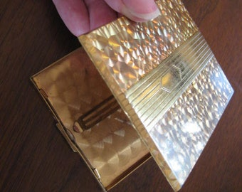 Vintage gold cigarette case.  Credit card case.  Antique case.