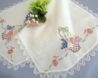 Vintage Table Runner, Dresser Scarf, Hand Embroidered, Flower Basket Design, Lovely Lace Trim,  Vintage Linens by TheSweetBasilShoppe